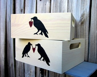 Storage Crate, Whitewashed, Set of Two, Painted Wood, Storage Box,  Black Crow, Crate with Handles, Primitive Decor, Hand Painted
