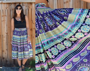 Vintage 80s INDIAN Cotton Gypsy BOHO Festival Skirt