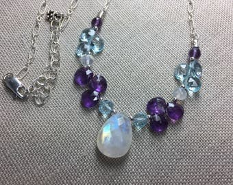 Rainbow Moonstone , Blue Topaz and Amethyst Necklace in Sterling Silver