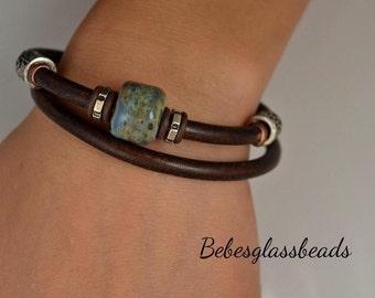 Leather Beaded Bracelet, Bead Bracelet, Leather Bracelet, Blue Bead Bracelet, Handmade Jewelry, Woman's Bracelet, Fashion Jewelry, Magnetic
