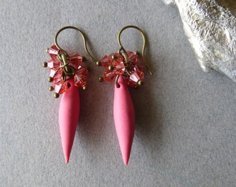 Rose Pink + Antique Bronze Polymer Clay Spike and Swarovski Crystal Dangle Earrings - Bronze