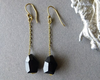 SALE / Jet Black Glass and Gold Chain Dangle Earrings - Minimal - Elegant