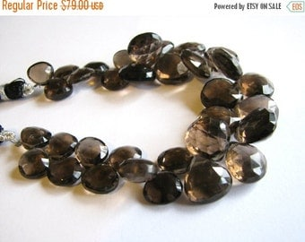 HUGE SALE Large AAA Smoky Quartz, faceted heart briolettes, 8.5-14mm, 7 inch full strand (w100)