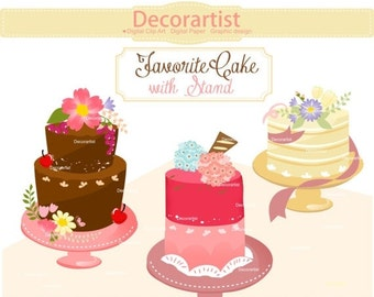 ON SALE Cake clipart,. cakes clipart,. Wedding Cake Clipart,. chocolate cake, birthday cake clip art, printable, INSTANT Download
