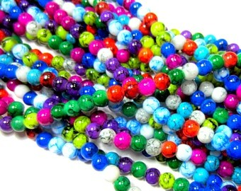 Assorted Glass Beads 6mm jewel tone color beads jewelry supply beadwork 15 inch strand C001-