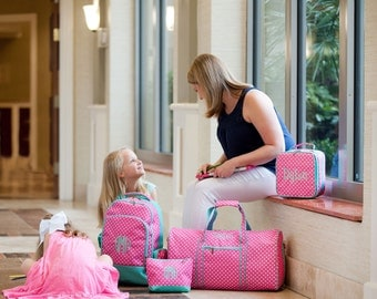 Special 3 Piece Set - Monogramed Hot Pink Polka Dot Trimmed in Mint Duffle Bag, Accessory Pouch, & Backpack; Great Gift for Girls
