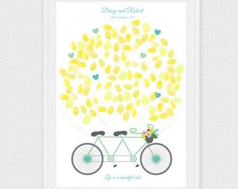 tandem bike wedding fingerprint guest book - printable file - bicycle, engagement party, balloon, customised personalised art keepsake, ride