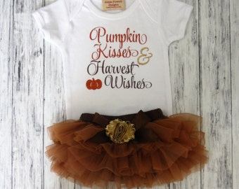 1st Thanksgiving Outfit - Harvest Wishes- Thanksgiving Kisses--Chiffon Tutu Bloomers- Set includes Bodysuit and Brown Tutu Bloomers