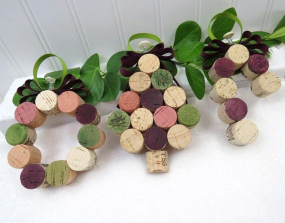 Christmas Tree Ornaments made with Wine Corks, Set of 3 includes a Wreath, Candy Cane and Mini Tree  RESERVED