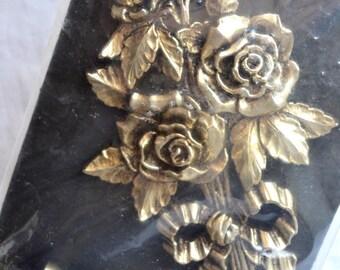 Vintage Metal Roses Curtain Tie Backs - NOS