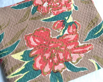 Vintage Fabric - Tropical Pink Flowers on Mocha - Dauphin Hand Print 45 x 38 Quilted