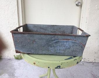 Large Vintage Galvanized Metal Tray