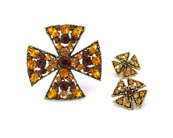 MALTESE CROSS Brooch Earrings Set • Topaz Brown Rhinestone Demi Parure • Vintage 1960s Jewelry