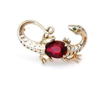 REJA Sterling Lizard Rhinestone Brooch | Salamander Figural Pin | Vintage 1940s Jewelry