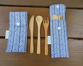 Reusable bamboo cutlery and carrying pouch  - Picnic cutlery case - Flatware pouch - Bamboo cutlery -  Navy blue chevron