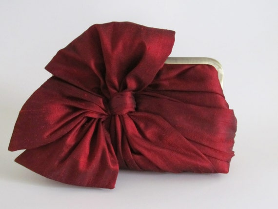 Black Cherry Silk Bow Clutch,Bags And Purses, Bridal Accessories,Red Clutch,Bridal Clutch,Bridesmaid Clutch,Bridesmaid Gift,Holiday Clutch