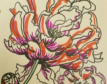 Peonies drawing with markers on toned paper