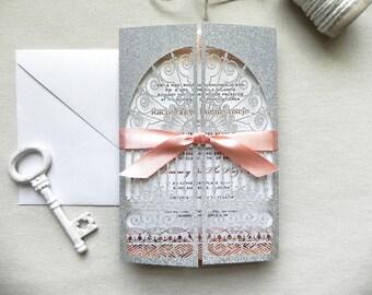 Silver Glitter and Rose Gold Foil Stamp Art Deco Door Invitation for Vintage Wedding - Laser Cut Pocket Fold, Insert Card, and RSVP Card