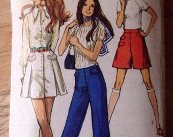 Vintage Simplicity 8842 Hip Hugger Pants, Skirt or Shorts • size 12