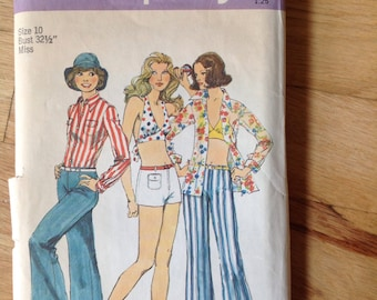 Vintage Simplicity 6348 Halter Top, Shirt, Pants, and Shorts • size 10 or 12