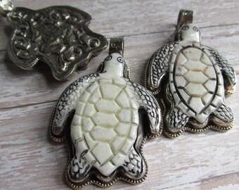 Sea Turtle Bone Pendant,Turtle, Encased Bone Pendant, Nepal, Pendants, Bone Pendant from Nepal, Sea Turtle