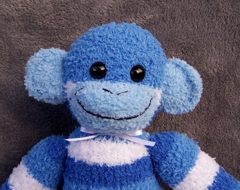 Blue Stripe Sock Monkey Doll Handmade Soft  Toy