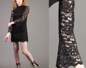 vintage LACE BELL SLEEVE scalloped black cocktail party bodycon mod mini dress 60s 1960s extra small xs