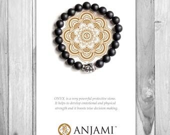 ONYX Bracelet,Mala Bracelet,Beaded Bracelet,Gemstone Bracelet,Yoga Jewelry,Inspirational Jewelry,Healing Jewelry, Gift for Her