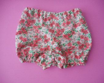 Melon pink and light pink flowers diaper cover bloomers with matching top knot headband