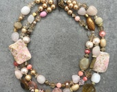 Stunning Statement Beaded Multistrand Chunky Necklace in Pink, Coral, Pearl, Beige, Brown Pastel Tones