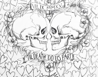 Medium Til Death do us part Wedding Guest book, Alternative wedding, Hand Drawn in ink, includes 1 pen for guest to sign hearts.