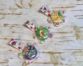 Girl Hair Clips Set Flowers Birds non slip clip Pink white Blue, floral print Victorian baby hair accessories first birthday outfit stocking