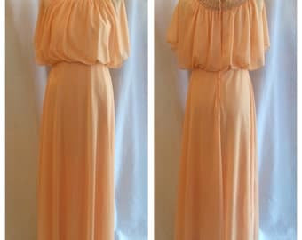 Dreamy 1970s Peach Polyester Greek Goddess Maxi Dress