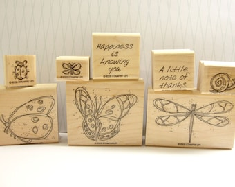 Winged Things Stamp Set from Stampin' Up, Stampin' Up Winged Things, Butterfly Stamp, Dragonfly Stamp, Ladybug Stamp, Snail Stamp, Gardens
