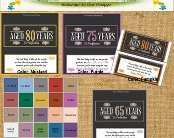 Milestone Birthday Party Favors Hershey's Candy Bar Wrappers Digital PDF Printable DIY Choose AGE and Color