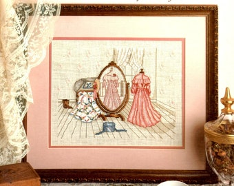 Reflections of the Past Full Length Mirror Long Dress Wedding Ring Quilt Hat Box Counted Cross Stitch Craft Pattern Leaflet Leisure Arts 471
