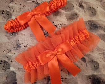 Orange Satin Orange Tulle Bridal Wedding Garter Toss Set