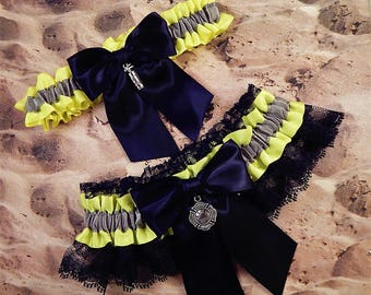 Firefighter Bright Yellow Gray Satin Black Lace Maltese Fire Extinguisher Charm Wedding Bridal Garter Toss Set