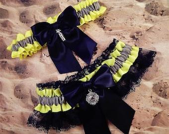 Firefighter Bright Yellow Gray Satin Black Lace Maltese Fire Extinguisher Charm Wedding Bridal Garter Toss Set