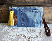 Hand dyed clutch wristlet /pouch/ wallet/ makeup pouch metal zipper purse denim indigo Leather trim- READY--