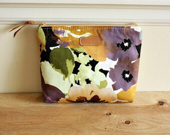 Floral Pouch/clutch/ Zipper purse/ makeup bag /leather trim- Ready