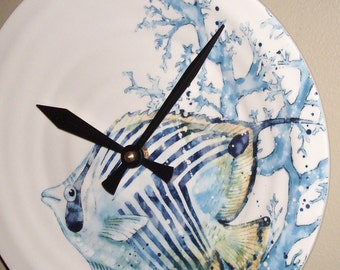 Watercolor Angelfish Wall Clock, 9 Inch SILENT Ceramic Blue Fish Clock, Under the Sea Beach House Clock - 2261