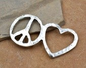 Peace and Love Connector, 8pcs, Metal Charms, Peace Sign Charm – C179