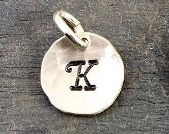 Initial Charm - Hand Stamped Sterling Silver Letter Charm