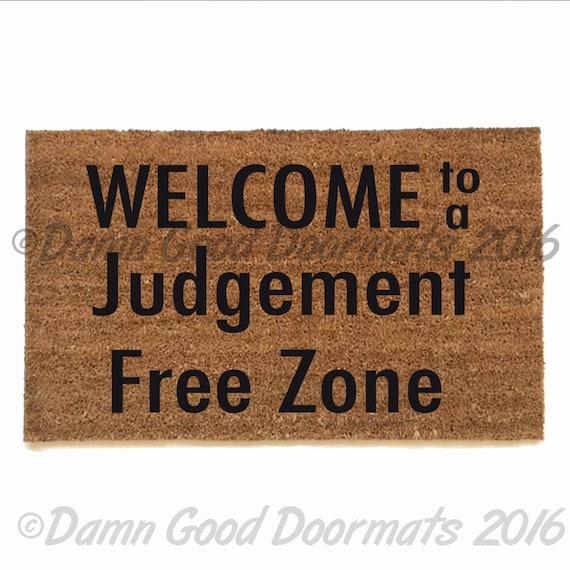 Items similar to judgement free zone funny doormat funny rude doormat novelty on etsy - Offensive doormats ...
