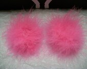 A Pair of Marabou Feather Puff Hair Clips With No-Slip Grips Bubblegum Pink