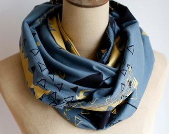 Gold & Grey Printed Infinity Scarf, Himalaya Mountain Print Scarf, Geometric Print, Double Layer Loop Scarf