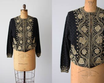 1950s Sweater -  Vintage 50s Angora Lambswool Black and Gold Heavily Beaded Cardigan XL - Novelty Hearts Sweater