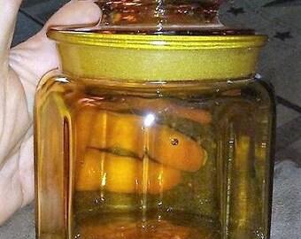 Vintage Amber Glass Cannister Jar