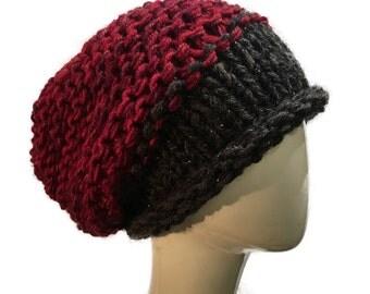Dark Grey and burgundy Slouchy Hat, Metallic Grey and wine Wool Hat, Burgundy Slouchy beanie, Warm Winter Hat,  Bohemian Knit Hat, Red Hat